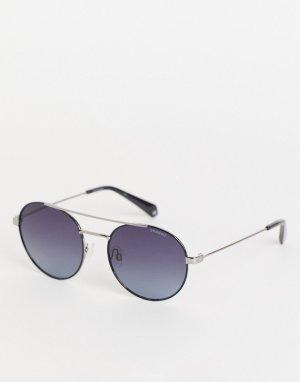 Солнцезащитные очки в стиле унисекс с круглыми линзами -Серебристый Polaroid