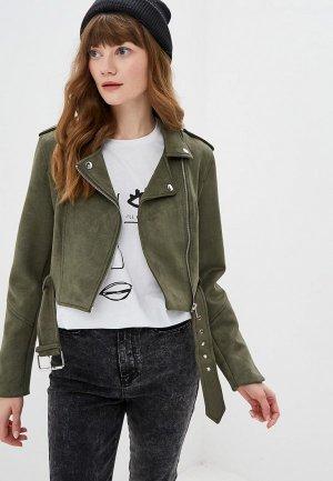 Куртка кожаная Befree. Цвет: хаки