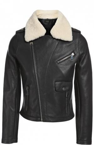 Куртка кожаная с воротником Maje. Цвет: черный