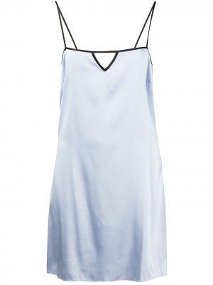Платье-комбинация с квадратным вырезом Fleur Du Mal. Цвет: синий