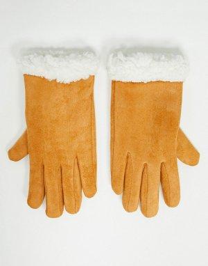 Перчатки оранжевого цвета из искусственной кожи с отделкой искусственным мехом -Оранжевый SVNX