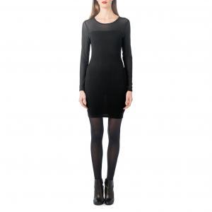 Платье облегающего покроя из вуали и трикотажа BEST MOUNTAIN. Цвет: черный