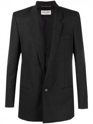 Однобортный пиджак строгого кроя Saint Laurent. Цвет: черный