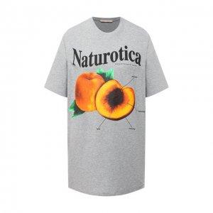 Хлопковая футболка Christopher Kane. Цвет: серый