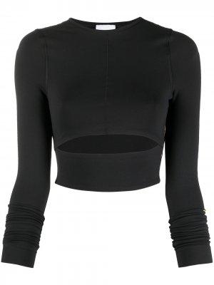Укороченный топ VB с длинными рукавами Reebok x Victoria Beckham. Цвет: черный