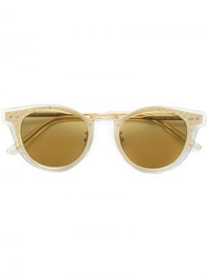 Солнцезащитные очки в круглой двухслойной оправе Bottega Veneta Eyewear. Цвет: металлический