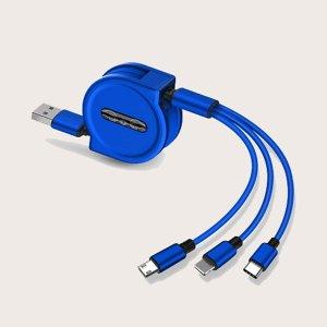 Телескопический кабель для передачи данных 3 в 1 SHEIN. Цвет: синий
