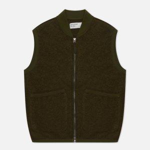 Мужской жилет Zip Wool Fleece Universal Works. Цвет: оливковый
