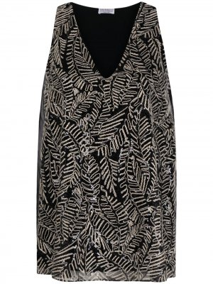 Leaf-print tank top Brunello Cucinelli. Цвет: черный
