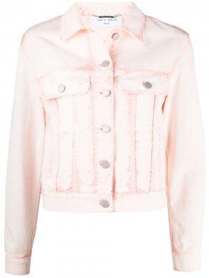 Укороченная куртка из вареного денима Alberta Ferretti. Цвет: розовый