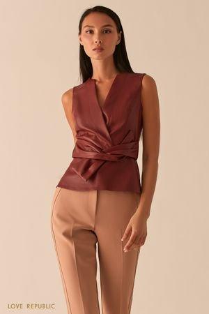 Блузка из экокожи с узлом на талии ягодного оттенка LOVE REPUBLIC
