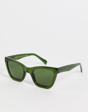 Темно-зеленые солнцезащитные очки «кошачий глаз» в стиле унисекс Big Kanye-Зеленый цвет A.Kjaerbede