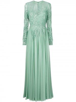 Вышитое платье с длинными рукавами Elie Saab. Цвет: зеленый