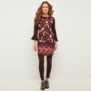 Платье облегающее с рукавами 3/4 и цветочным рисунком JOE BROWNS. Цвет: бордовый/цветочный рисунок