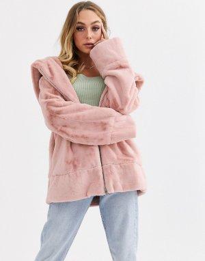 Куртка с капюшоном, искусственным мехом и шнурком на талии -Розовый Jayley