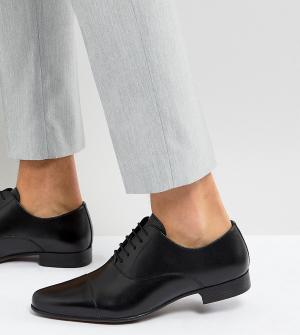 Черные кожаные оксфорды для широкой стопы ASOS DESIGN. Цвет: черный
