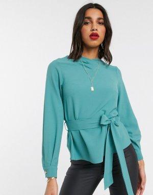 Блузка с объемными рукавами и завязкой Closet-Синий Closet London