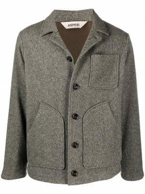 Однобортный пиджак с узором в елочку Aspesi. Цвет: серый