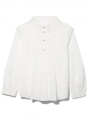 Блузка с вышивкой Chloé Kids. Цвет: белый