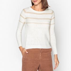 Пуловер с круглым вырезом из трикотажа в рубчик AUGIER GARANCE PARIS. Цвет: экрю