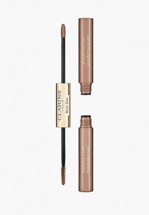 Набор для макияжа бровей Clarins Brow Duo, тон 02 Auburn, 1,8 гр+1 гр. Цвет: коричневый