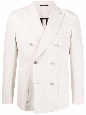 Двубортный пиджак строгого кроя Tonello. Цвет: нейтральные цвета
