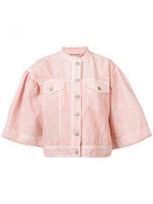Bell sleeve denim jacket Ulla Johnson. Цвет: розовый и фиолетовый