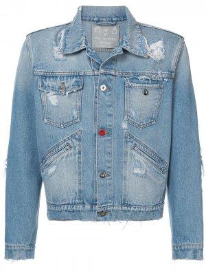 Укороченная джинсовая куртка с рваными деталями MJB Marc Jacques Burton. Цвет: синий