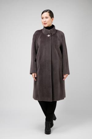 Расклешенное пальто на большой размер из сури альпака Leoni Bourget. Цвет: графит