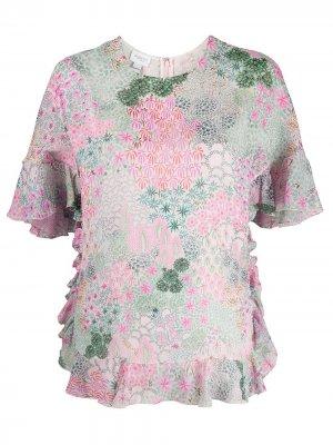 Топ из ткани жоржет с цветочным принтом Giambattista Valli. Цвет: розовый