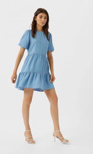 Короткое Джинсовое Платье Женская Коллекция Средний Деним M Stradivarius. Цвет: средний деним