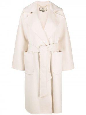 Пальто миди с поясом Elisabetta Franchi. Цвет: нейтральные цвета