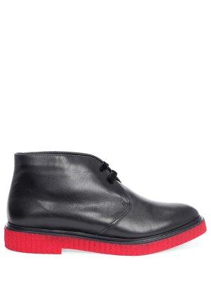 Кожаные ботинки-дезерты с мехом FRATELLI ROSSETTI