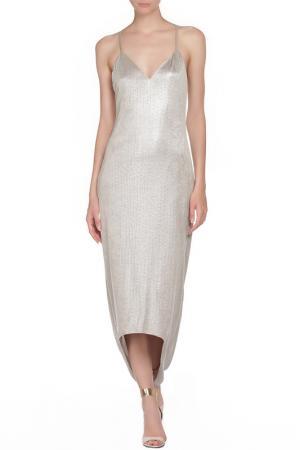 Платье ALICE+OLIVIA. Цвет: серебряный
