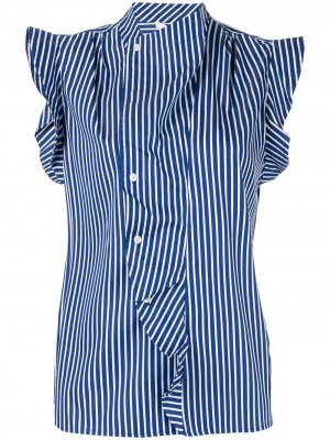 Draped detail striped shirt Derek Lam 10 Crosby. Цвет: синий