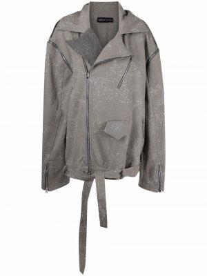 Длинная байкерская куртка Barbara Bologna. Цвет: серый