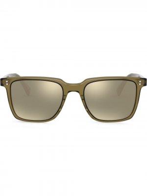Солнцезащитные очки Lachman в квадратной оправе Oliver Peoples. Цвет: зеленый