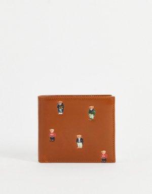 Светло-коричневый кожаный бумажник со сплошным принтом логотипа-медведя -Светло-бежевый цвет Polo Ralph Lauren