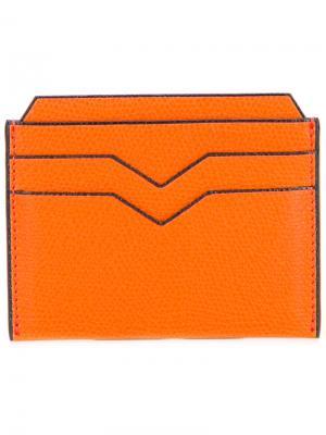Классическая визитница Valextra. Цвет: жёлтый и оранжевый
