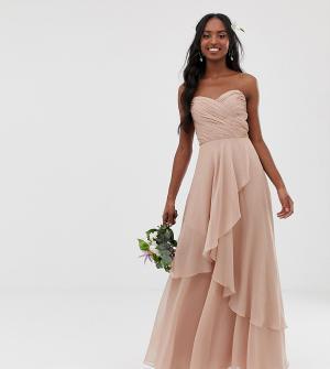 Платье-бандо макси с многослойной юбкой ASOS DESIGN Tall Bridesmaid-Розовый