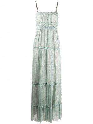 Платье с квадратным вырезом и сборками Alysi. Цвет: синий