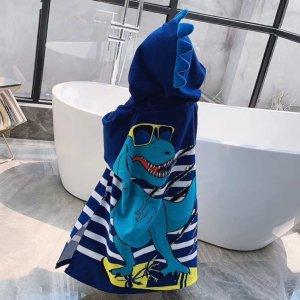 Детский банный халат с капюшоном и принтом динозавра SHEIN. Цвет: ярко-синий