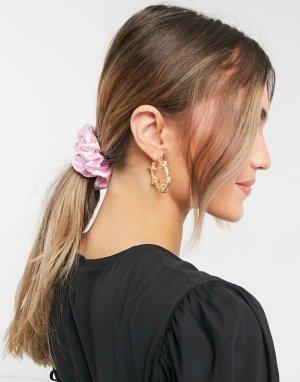 Набор из 3 трех резинок для волос разных размеров в розовых и фиолетовых тонах ASOS DESIGN-Многоцветный