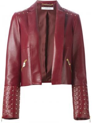 Кожаная куртка с заклепками Versace Collection. Цвет: красный