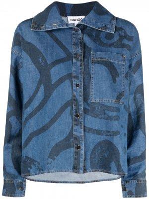Джинсовая рубашка с принтом K-Tiger Kenzo. Цвет: синий