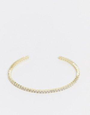 Позолоченный браслет-кафф со стразами -Золотистый Shashi
