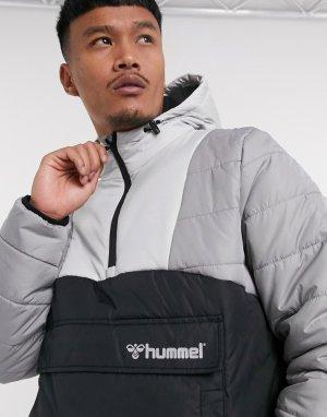 Дутая куртка-пуловер серого и черного цвета с молнией до середины -Черный Hummel