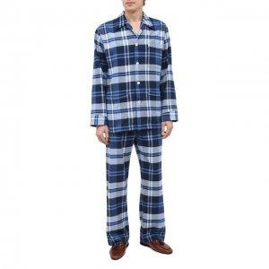 Хлопковая пижама Derek Rose. Цвет: синий