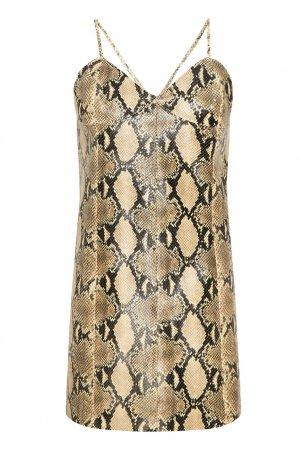 Короткое платье со змеиным принтом Gucci. Цвет: бежевый