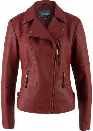 Куртка-косуха из искусственной кожи bonprix. Цвет: красный